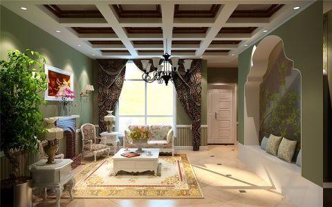 客厅背景墙欧式田园风格装饰图片
