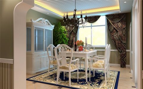 餐厅窗帘欧式田园风格装潢图片