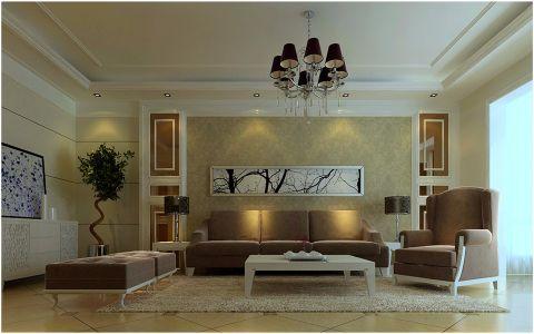 客厅茶几简欧风格装潢设计图片