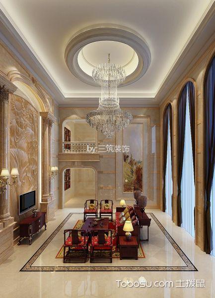 客厅红色电视柜欧式风格装潢效果图