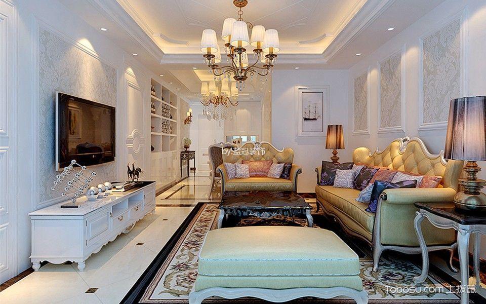 客厅白色电视柜简欧风格装潢设计图片