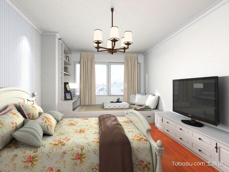 新中式风格90平米复式楼新房装修效果图