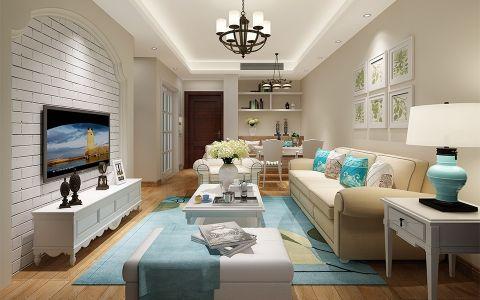 田园风格89平米两室两厅新房装修效果图