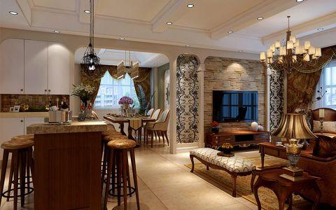 美式风格122平米三室两厅室内装修效果图