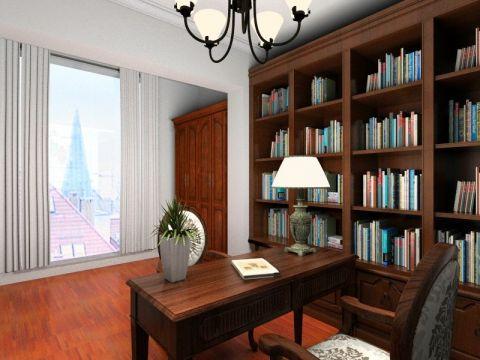 书房书桌新中式风格装潢效果图
