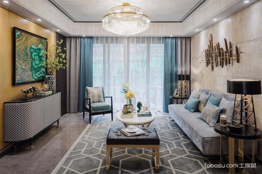 客厅彩色背景墙美式风格装修效果图