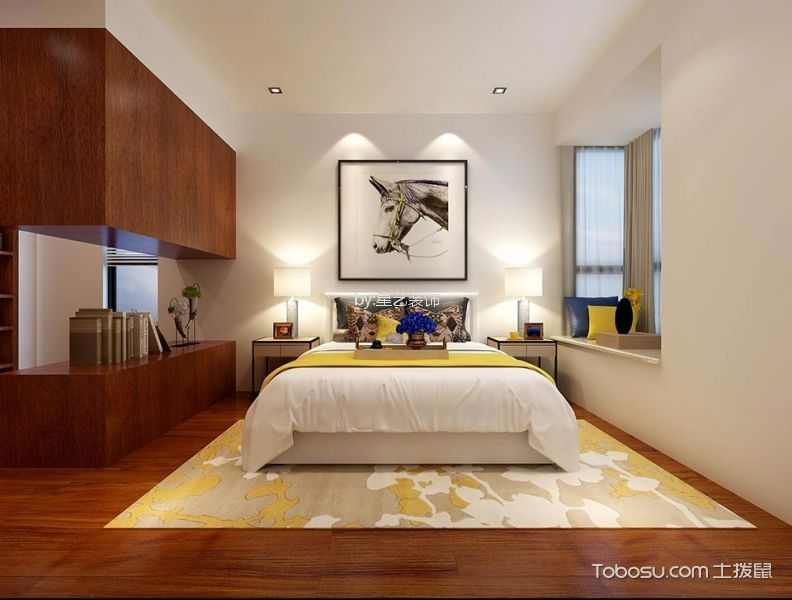 卧室白色背景墙现代简约风格装潢设计图片