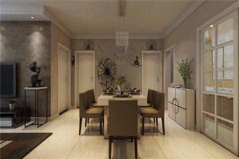 餐厅白色推拉门现代风格装修图片
