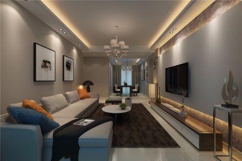 客厅灰色吊顶现代简约风格装潢图片