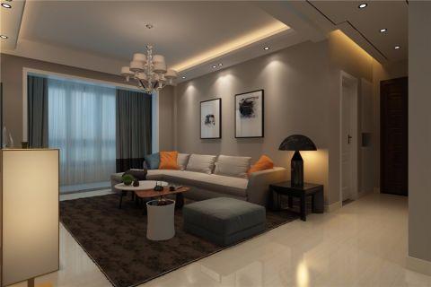 客厅米色背景墙现代简约风格装修设计图片