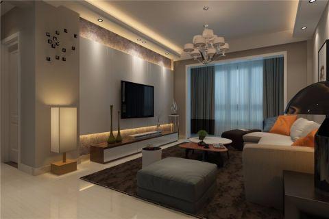 客厅白色电视柜现代简约风格装饰设计图片