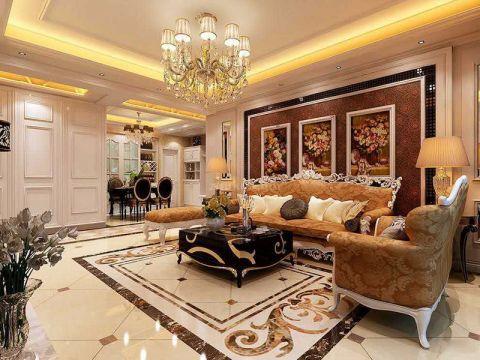客厅橙色背景墙欧式风格装潢设计图片