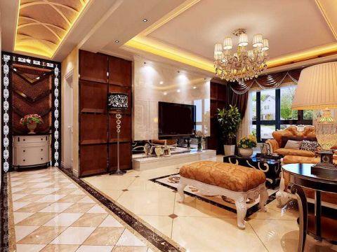 客厅黄色吊顶欧式风格装修效果图
