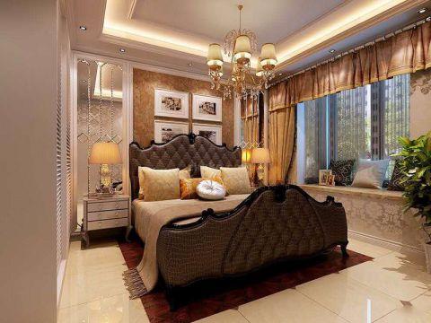 卧室橙色背景墙欧式风格装饰效果图