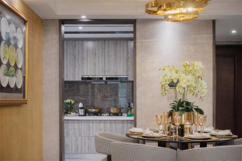 厨房黄色背景墙美式风格装潢效果图