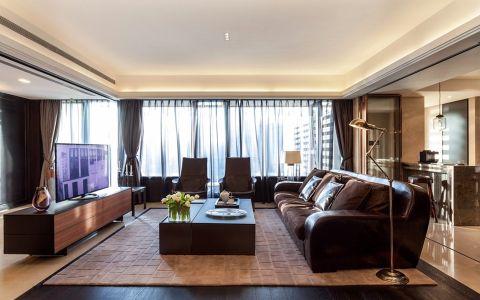 客厅咖啡色窗帘现代风格装饰设计图片