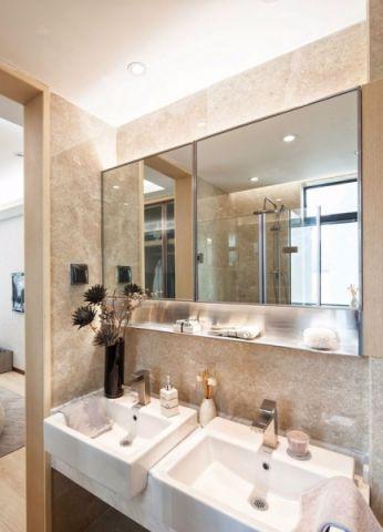卫生间白色背景墙现代简约风格装潢效果图