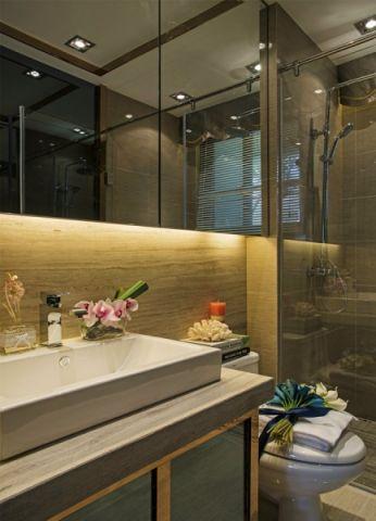 卫生间白色洗漱台现代风格装饰设计图片