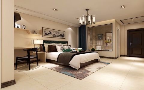 卧室米色背景墙新中式风格装潢图片