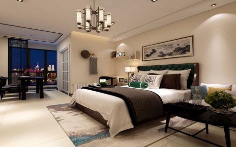 卧室米色吊顶新中式风格装饰设计图片