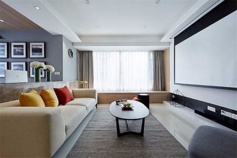 客厅白色飘窗简约风格装饰图片