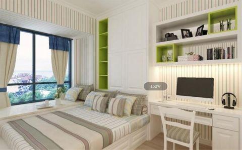 卧室白色飘窗简约风格装潢设计图片