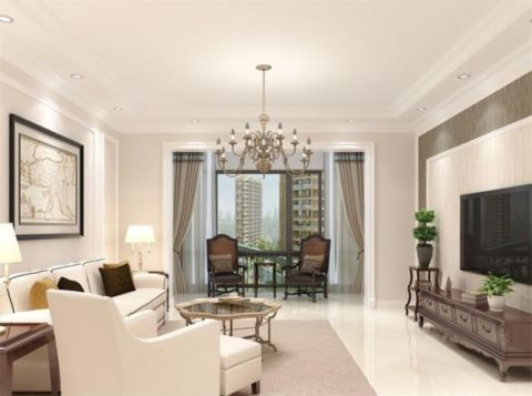客厅白色吊顶简约风格装修效果图