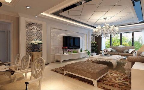 客厅白色走廊简欧风格装饰图片