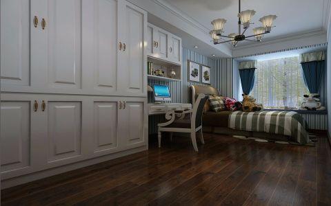 卧室蓝色窗帘欧式风格装潢图片