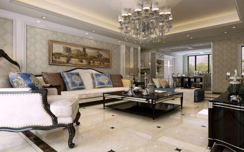 客厅米色沙发欧式风格装潢设计图片