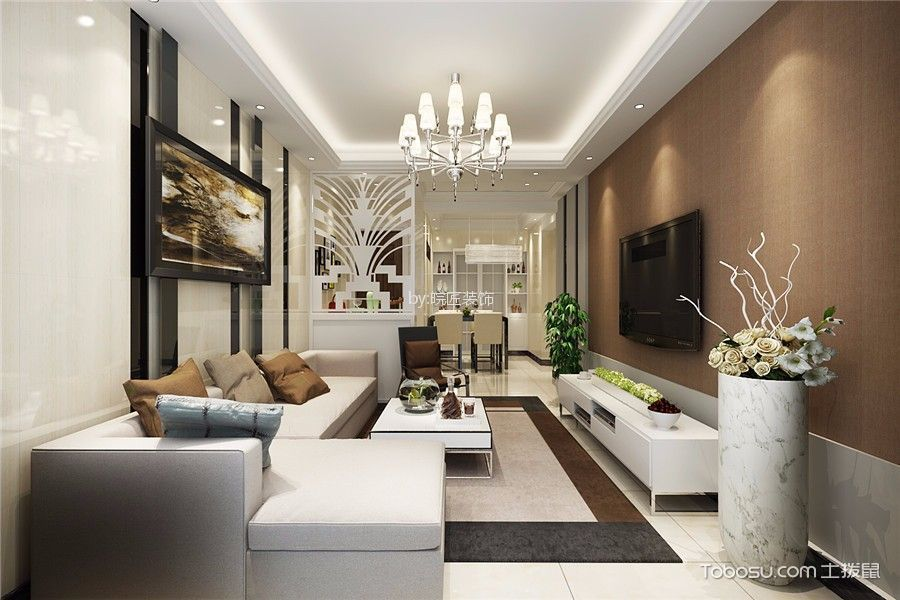 7万预算100平米三室两厅装修效果图