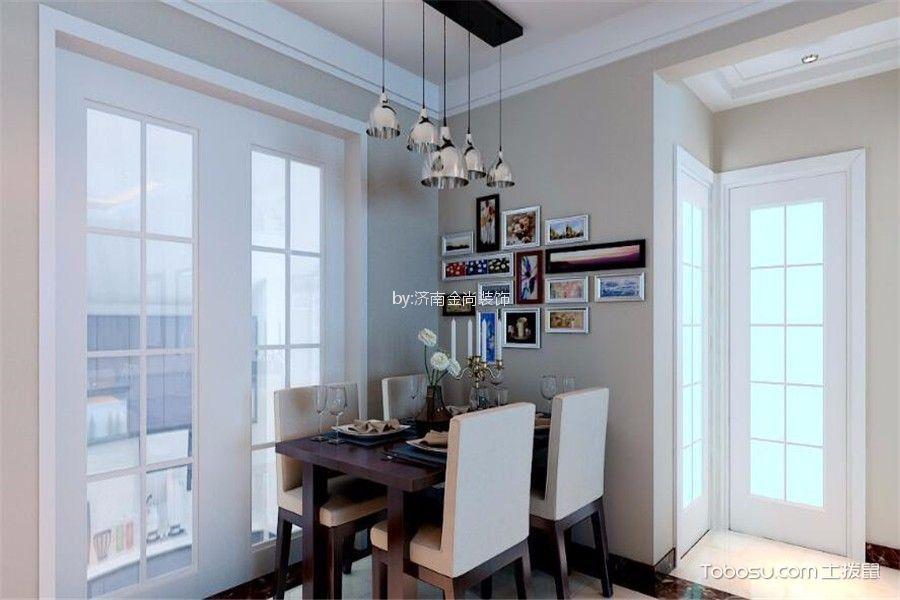 餐厅白色推拉门现代简约风格装潢设计图片