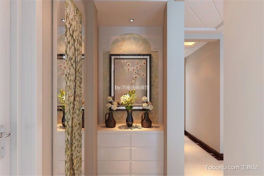 玄关米色背景墙现代简约风格装饰效果图