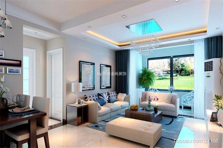 客厅灰色吊顶现代简约风格装潢效果图