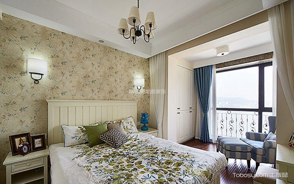 卧室蓝色窗帘美式风格装饰图片