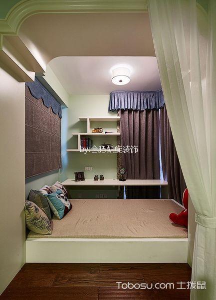 儿童房绿色榻榻米美式风格装修设计图片