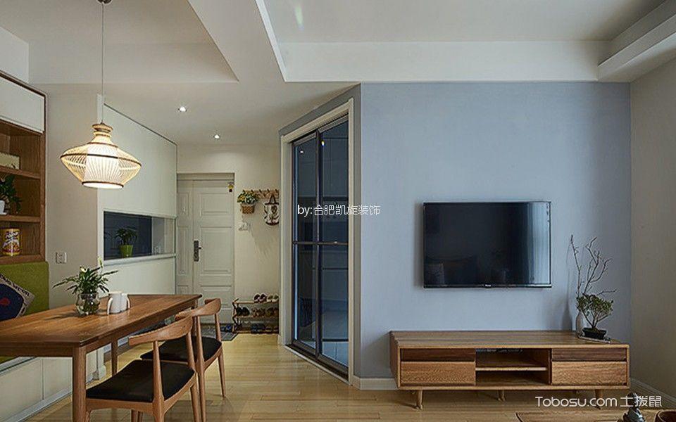 客厅蓝色背景墙简约风格装修设计图片