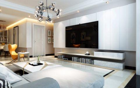 客厅白色背景墙北欧风格装修设计图片