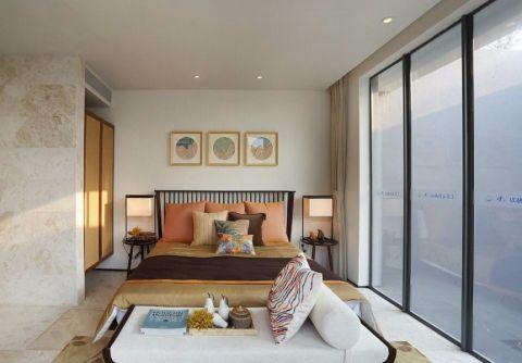 卧室米色窗帘混搭风格装潢图片