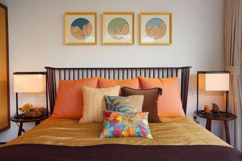 卧室白色背景墙混搭风格装修设计图片