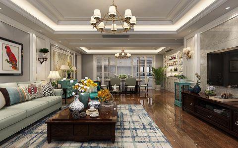 客厅咖啡色电视柜美式风格效果图