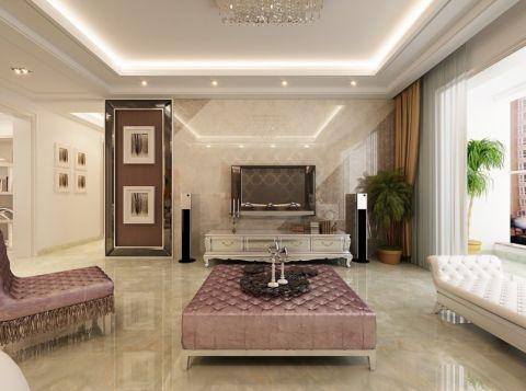 客厅米色背景墙现代欧式风格装修设计图片