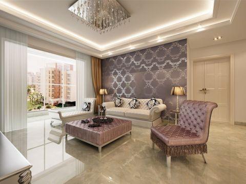 客厅紫色背景墙现代欧式风格装饰设计图片