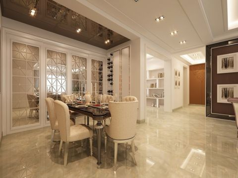 餐厅白色推拉门现代欧式风格装潢设计图片