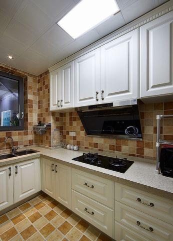 厨房黄色背景墙美式风格装潢图片