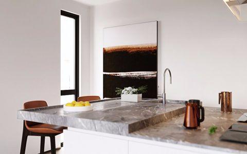 厨房白色背景墙简约风格装潢图片