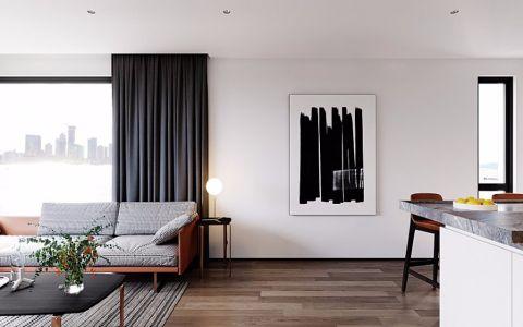 客厅灰色窗帘简约风格装修设计图片