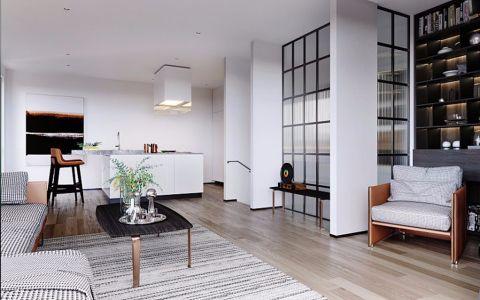 客厅白色走廊简约风格装潢设计图片