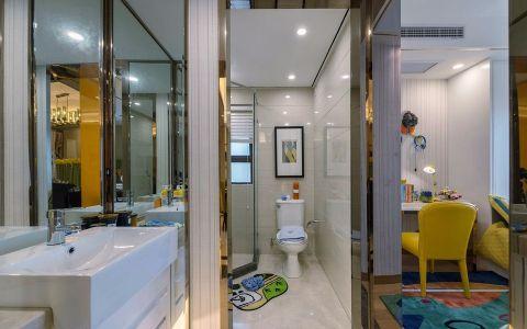 卫生间白色洗漱台混搭风格装修效果图