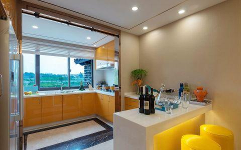 厨房白色吧台混搭风格装潢效果图